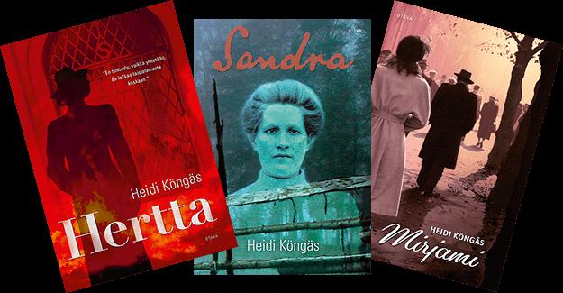 Hertta, Sandra ja Mirjami - kirjojen kannet